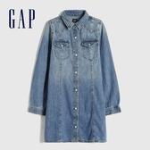 Gap女童 淺色水洗開襟翻領牛仔洋裝 609781-水洗藍