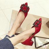 八八折促銷-高跟鞋女粗跟2018秋季新品韓版百搭方扣淺口水鉆女鞋尖頭中跟單鞋