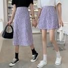 夏季新款甜美小清新港味半身裙女復古赫本風高腰碎花A字裙子