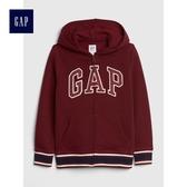 Gap男童 Logo印花落肩長袖連帽休閒外套 491327-酒紅色