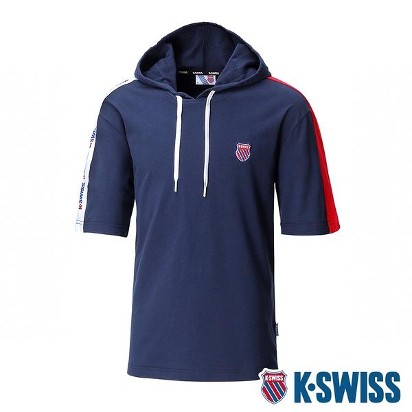 K-SWISS Loose Fit Hoodie短袖連帽上衣-男-藍