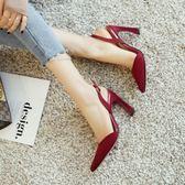 現貨出清尖頭細跟高跟鞋涼鞋女夏百搭時尚性感淺口單鞋女鞋  9-17