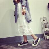 裝新款韓版百搭蕾絲拼接背心裙內搭打底無袖中長款連身裙女 聖誕交換禮物