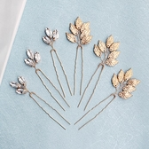 水鑽髮簪(六件套)-簡約不對稱金色葉子頭飾73xr29【時尚巴黎】