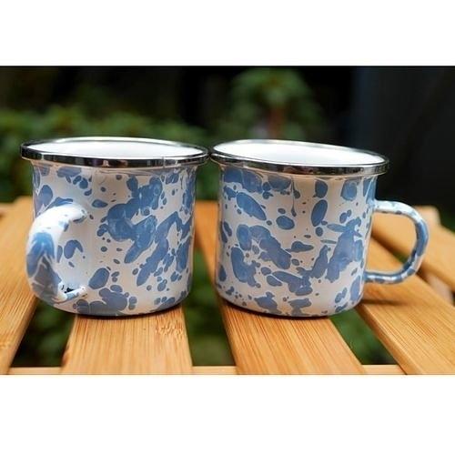 Wind & Whisper 南洋琺瑯 咖啡雙杯組(潑墨藍天)