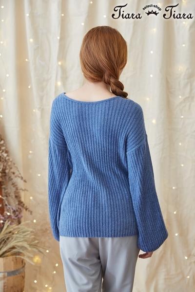 【Tiara Tiara】激安 單色直紋針織衫長袖上衣(藍/黑/駝)