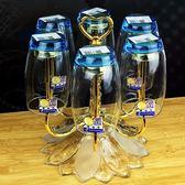 紅酒杯架 創意不銹鋼6頭旋轉水杯架酒杯架時尚茶杯架 歐式倒掛瀝水玻璃杯子 麻吉部落