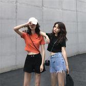 T恤夏季新款韓版短款顯瘦露臍短袖T恤女修身百搭純色上衣體恤潮 至簡元素