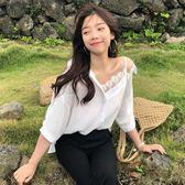 蕾絲衫 夏季女裝韓版寬鬆學生假兩件不對稱蕾絲吊帶雪紡衫短袖襯衫上衣潮 夢藝家