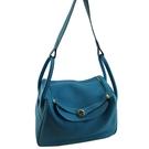 【奢華時尚】HERMES R刻印-藍色牛皮銀釦34公分款肩背Lindy包(八八成新)#25181