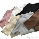 短袖針織上衣 春夏女裝韓版純色基礎款針織衫修身短袖簡約T恤上衣打底衫學生潮 全館單件9折