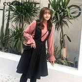 中大尺碼 粉色喇叭袖上衣+毛呢背心裙 兩件式長袖洋裝 - 適XL~5L《 67288HH 》CC-GIRL