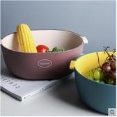 水果碟雙層塑料瀝水籃廚房洗菜筐淘米籃水果盆水果盤收納籃洗菜盆 芊墨左岸
