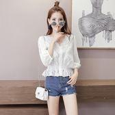 蕾絲雪紡衫 小清新繡花鏤空短款V領白色襯衫寬松九分袖襯衣t恤