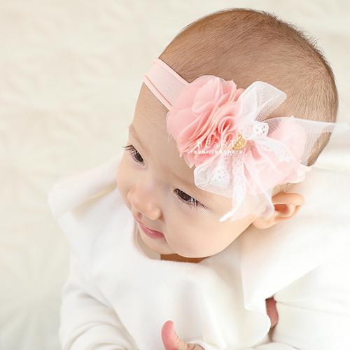 雪紡雙花朵彈性髮帶 髮帶 髮飾 花朵 嬰兒 幼兒
