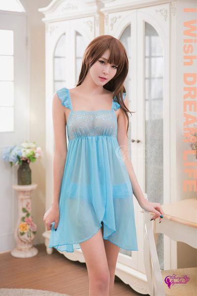 【性感寶盒】★性感睡衣 藍色柔紗雙層開襟二件式睡衣★藍┌NA16020071