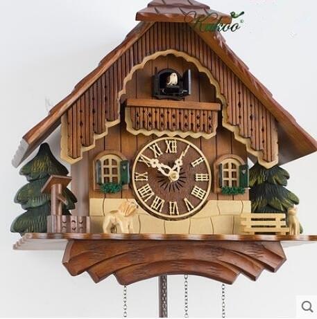 小房子鐘實木音樂布穀鳥掛鐘時尚創意歐式美式創意靜音石英掛鐘K9012