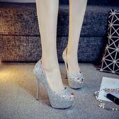 14cm細跟超高跟魚嘴鞋亮片黑銀色婚鞋夜店高跟鞋淺口女單鞋宴會鞋  WY1616  【雅居屋】