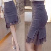 窄裙 秋冬新款鬆緊腰包臀裙高腰裙毛呢裙開叉半身裙一步裙短裙女 小天後