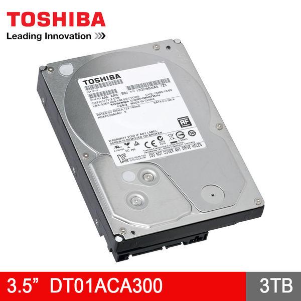 【免運費】TOSHIBA 東芝 3TB SATA3 3.5吋 內接硬碟(DT01ACA300) / 7200轉 / 3T / 代理商盒裝-3年保