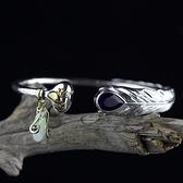 手環 925純銀-羽毛鑲水滴型紫晶開口生日情人節禮物女手鐲73na112[時尚巴黎]