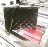 ■現貨在台■專櫃68折■Saint Laurent 聖羅蘭 579607 Becky 翻蓋小羊皮菱格紋金鍊包 黑色