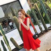綁帶設計無袖V領連身裙女夏季新品氣質中長款聚會禮服裙子  中元節禮物