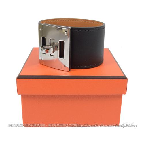茱麗葉精品 二手精品 【9.99 展示全新】HERMES Kelly Dog Extreme 小牛皮轉釦寬版手環.黑/銀