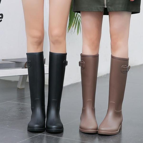 女式雨鞋女 時尚款外穿雨靴長筒 防水高筒水靴防滑膠鞋女士水鞋套鞋‧防水