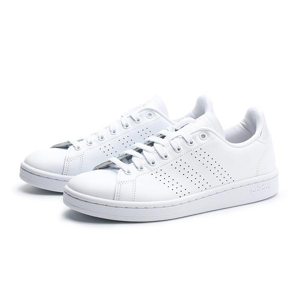 ADIDAS 休閒鞋 ADVANTAGE 全白 皮革 雷射 小白鞋 女(布魯克林) EE9690