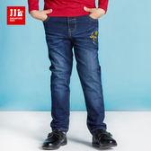 JJLKIDS 男童 刺繡英字刷色牛仔褲(藍色)