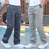 夏季工裝褲男士休閒褲大碼戶外寬鬆運動褲男褲子直筒彈力長褲子男「時尚彩紅屋」