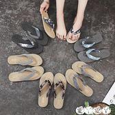 雙十一狂歡人字拖 仿草編越南旅游麻底女涼鞋韓潮外穿人字拖平底沙灘平跟夾腳女拖鞋 新品