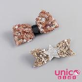 UNICO 兒童 歐美新款亮片蝴蝶結全包布髮夾-2入組