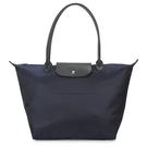 LONGCHAMP長提把中型厚尼龍水餃包(黑藍色)480159-006