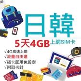 日本 韓國 日韓上網卡 5天4GB上網卡 4G網速 免設定 免開卡 隨插即用 上網 上網卡 網路 網路卡