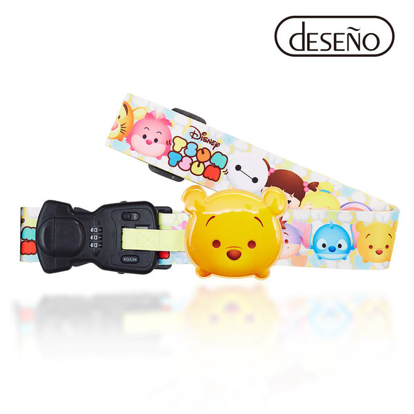 行李束帶 DESENO Disney 迪士尼 TSUMTSUM 可愛造型 附行李秤束帶 行李箱綁帶 維尼 B1135-0008