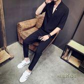 秋季短袖T恤套裝男士韓版潮流新款休閒帥氣一套衣服男裝夏裝 「時尚彩虹屋」