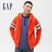 Gap男裝 Logo碳素磨毛抓絨連帽外套 656147-橘色