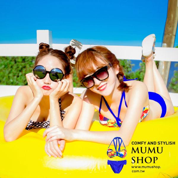 MUMU SHOP【S50001】盛夏冒險。熱帶花紋綁帶後扣兩件式比基尼