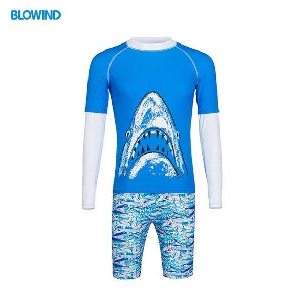 限時8折秒殺水母衣兒童泳衣防曬長袖分體男童泳裝速干親子度假潛水服