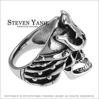 戒指 西德鋼戒「武士骷髏頭」街頭嘻哈風 單個價格
