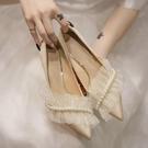 法式高跟鞋女設計感小眾氣質配裙子淑女珍珠鞋溫柔單鞋春季【慢客生活】