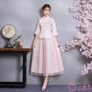 洋裝中式伴娘服女2019新款姐妹團中國風伴娘團禮服閨蜜復古民國風旗袍