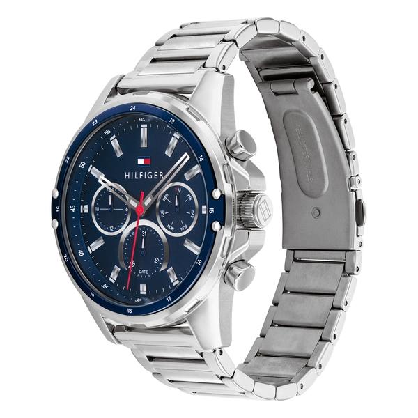 【台南 時代鐘錶 Tommy Hilfiger】1791788 機能 鋼錶帶 三眼計時男錶 44mm 藍/銀