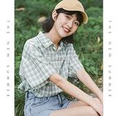 短袖格子襯衫女夏季新款寬鬆港風設計感小眾薄款綠色襯衣上衣快速出貨