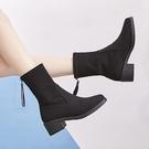 短靴女 馬丁靴 粗跟春秋新款女襪子靴彈力靴女鞋保暖瘦瘦靴韓版女鞋子《小師妹》sm3221