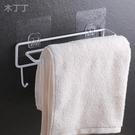 帶掛鉤免打孔壁掛式鐵藝毛巾架浴室置物架單...