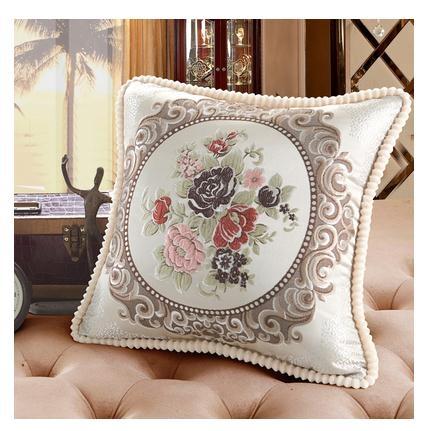 歐式客廳奢華沙發方形靠墊抱枕套刺繡花腰靠背墊布藝大號含芯靠枕 樂活生活館