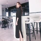 半高領黑色針織中袖長款打底洋裝女春秋寬鬆過膝大碼內搭T恤裙 - 風尚3C
